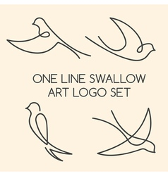 One line swallow art logo set vector image vector image