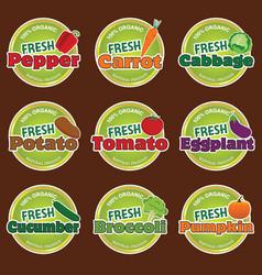 organic food vegetables label vector image vector image