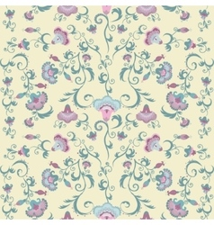 Oriental flowers pattern floral ornament on beige vector