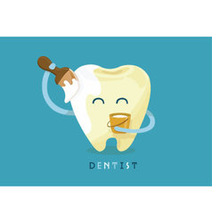Paint whitening tooth vector image vector image