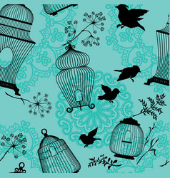 seamless pattern with decorative bird cage black vector image