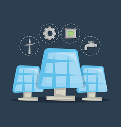 Solar panels clean energy concept vector