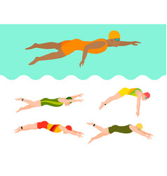 swimming people style scheme different vector image vector image