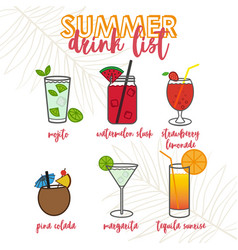 Tropical cocktails and drinks vector