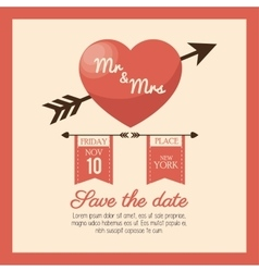 Wedding card save the date heart love design vector