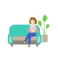 Woman Visitor Sitting On Sofa Coworking In vector image vector image