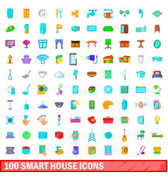 100 smart house icons set cartoon style vector