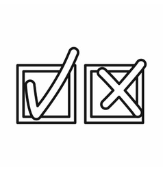 Tick and cross icon outline style vector