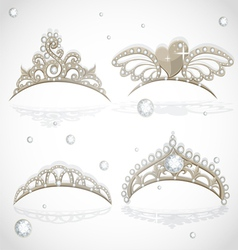 Shining gold girls tiaras with diamonds vector