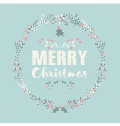 Merry christmas postcard with lettering and floral vector