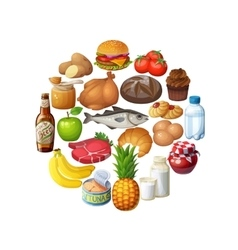 Circle of food stuff isolated on white background vector