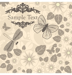 retro background with stylized flowers and insects vector image