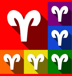 Aries sign   set of icons with vector
