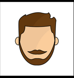 People avatar face men with mustache icon vector