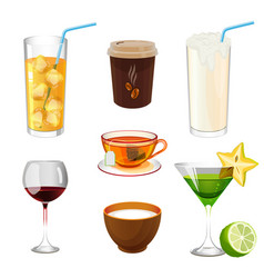 Soda with ice in glass take away coffee fresh vector