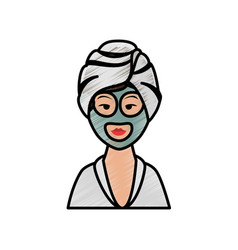 Woman in spa vector