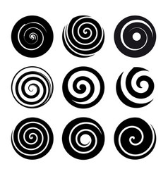 Set of spiral motion elements black isolated vector