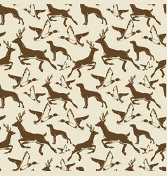 vintage seamless pattern ducks deers vector image