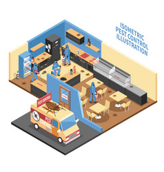 Pest control in cafe isometric vector
