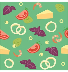 Pizza seafood pizza ai frutti di mare ingredients vector