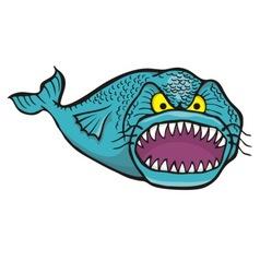 big angry fish vector image
