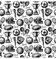 Hand drawn sketch sport seamless pattern with vector