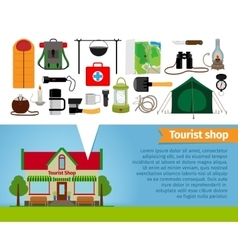 Tourist shop tourism equipment tools for hiking vector