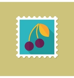 Cherry flat stamp with long shadow vector