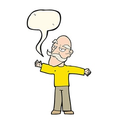 Cartoon old man spreading arms wide with speech vector