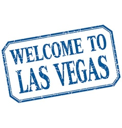 Las Vegas - welcome blue vintage isolated label vector image