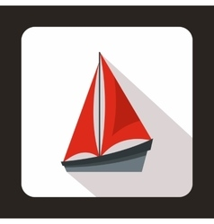 Small yacht icon flat style vector