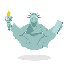 Statue of liberty yoga national symbol of america vector