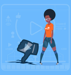 African american girl hold thumb down modern video vector