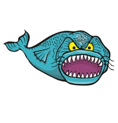 big angry fish vector image vector image