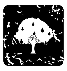 Big pear tree icon grunge style vector image