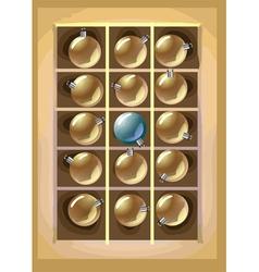 christmas balls in box vector image vector image