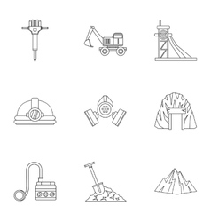 Coal icons set outline style vector