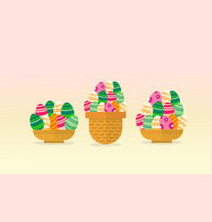 Collection of easter egg style backgrounds vector