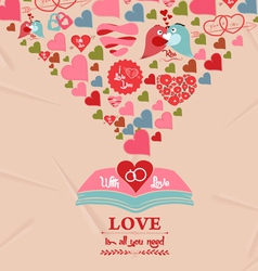 Colorful valentines day elements greeting card vector
