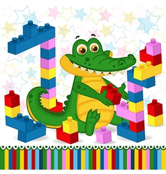 Crocodile construction plastic block vector