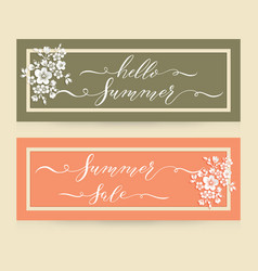 Elegant cards with hello summer and vector