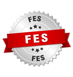 Fes round silver badge with red ribbon vector