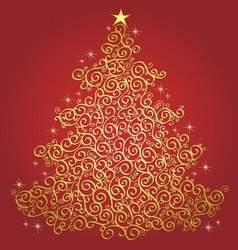 Gold filigree christmas tree-red background vect vector image