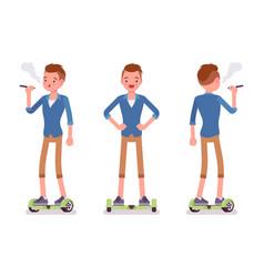 gyroscooter boy balancing and vaping vector image