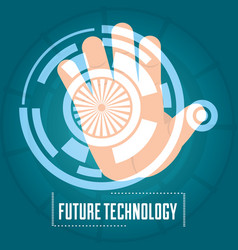 Hand authentication digital technology connection vector