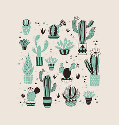 Hand drawn cactus card vector