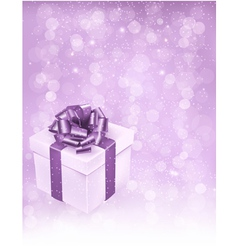 Holiday background with gift box with bow and vector image