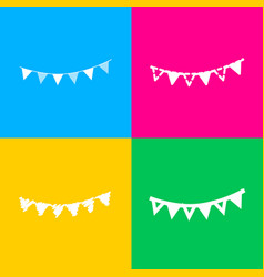 Holiday flags garlands sign four styles of icon vector