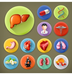 Medicine and Health long shadow icon set vector image