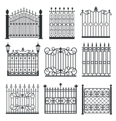 Metal iron gates grilles fences set vector image vector image